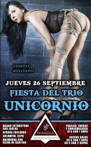Fiesta del TRÍO – ¡¡UNICORNIO!! <br> (Jueves, 26 Septiembre 19) <br> PARKING GRATUITO